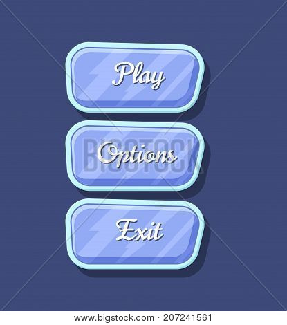 Glossy colorful computer game menu interface set. Play, options and exit cartoon buttons. Bright user design, app graphical user interface, navigation objects isolated vector illustration.