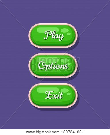 App graphical user interface cartoon design set. Play, options and exit original buttons. Bright user navigation objects, computer game menu collection isolated vector illustration.