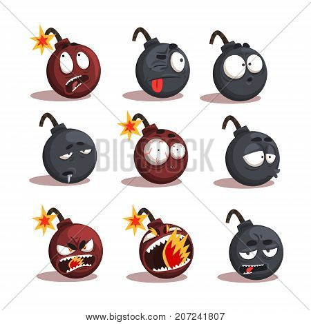 Cartoon bomb emotions set. Cheerful character tries to stop the explosion. Funny explosive faces. A second before blast. Vector comic illustration isolated on white background.