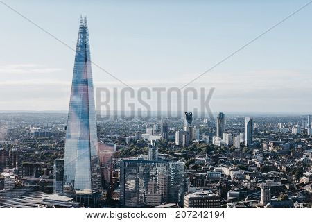 LONDON, UK - SEPTEMBER 30, 2017: London and Shard, the highest building in the city. View from Sky Garden, the highest public garden in London