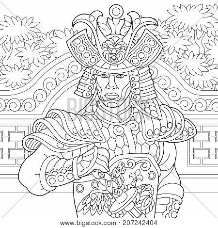 Coloring page of japanese samurai with katana sword. Freehand sketch drawing for adult antistress coloring book in zentangle style.