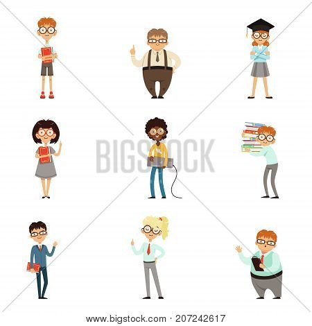 Smart kids in glasses with books set. Clever children learning and studying. Enjoying literature. Feel intelligent. Collection of boys and girls loving to read. Vector illustration isolated on white.