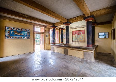 Heraklion, Greece - January 28, 2017: Copies of fresco in a hall at the palace of Knossos, famous ancient city in Crete, located near modern Heraklion city