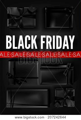 Black Friday sale poster template for discount promo offer or advertising store web banner. Vector black gift box and bow ribbon on black luxury background for premium shop Friday sale