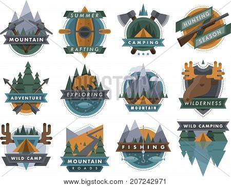 Camping outdoor tourist travel logo scout badges template emblems vector illustration set. Mountain, animals, river camp outdoor club emblem