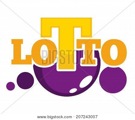 Lotto promotional emblem with shiny balls and big yellow letters isolated cartoon flat vector illustration on white background. Interesting game of chance as easy way to earn some sum of money.