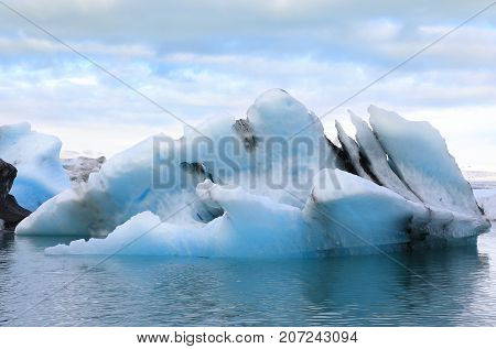 Floating icebergs in the glacial lake Jokulsarlon Iceland