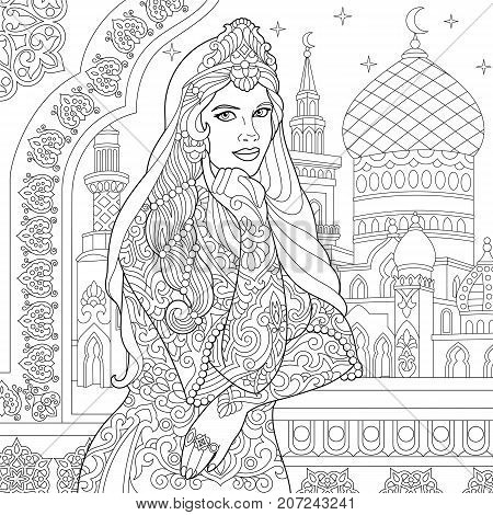Coloring page of turkish woman. Islamic filigree decor arabic mosque crescent moons and stars on the background. Freehand sketch drawing for adult antistress coloring book in zentangle style.