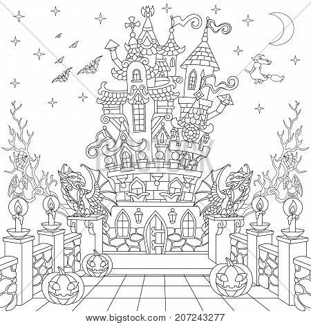 Halloween coloring page. Spooky castle halloween pumpkins flying bats witch gothic statues of dragons moon stars. Freehand sketch drawing for adult antistress coloring book in zentangle style.