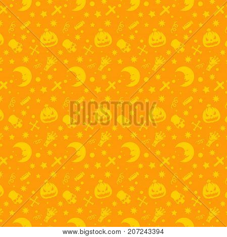 Halloween pattern vector design for background, wrapping paper, greeting card. Pumpkins and sculls objects illustration.