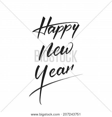 Happy New Year . Hand drawn calligraphy for New Year card, poster, design etc. Happy New Year 2018 hand lettering.