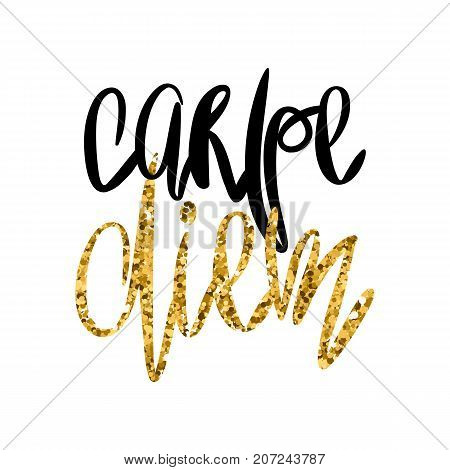 Carpe Diem - Decorative poster with handdrawn lettering. Modern ink calligraphy. Handwritten black and gold glitter phrase isolated on white background. Trendy vector design for motivational card