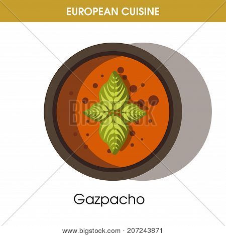 European cuisine Gazpacho soup traditional Spanish dish of vegetables in bowl plate. Vector flat isolated icon for Europe restaurant menu or cooking recipe template
