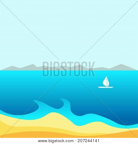 Spectacular blue bay with calm water surface, small white sailboat, high mountains on horizon and piece of sandy beach under clear blue sky vector illustration. Amazing summer natural landscape.