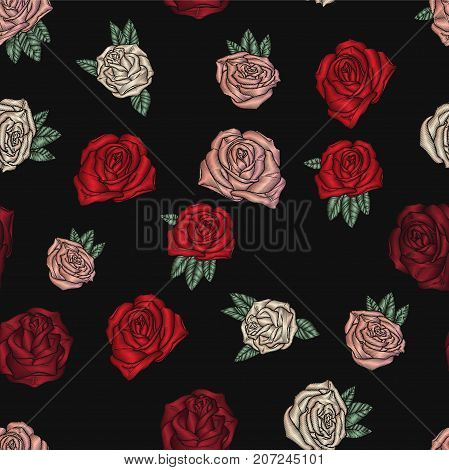 Embroidery seamless pattern with roses. Vector embroidered floral decoration. Flowers on black background.