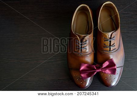 Close Up Of Burgundy Bowtie On Brown Leather Shoes, Free Space. Modern Man Or Groom Accessories. Wed