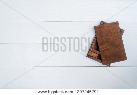 Empty Blank Wood Boxe For Gift Or Photos With Usb Stick, Free Space. Packaging For Photo And Usb Dri