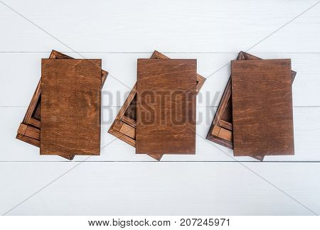 Empty Blank Wood Boxes For Gift Or Photos With Usb Stick, Free Space. Packaging For Photo And Usb Dr