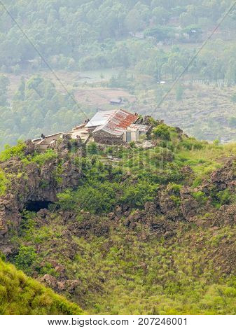 settlement around a volcano named Mount Batur in Bali Indonesia
