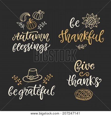 Autumn and Thanksgiving Day hand written ink lettering and doodles set. Modern calligraphy. Typographic design elements for posters, stickers, gift tags, greeting cards. Vector illustration