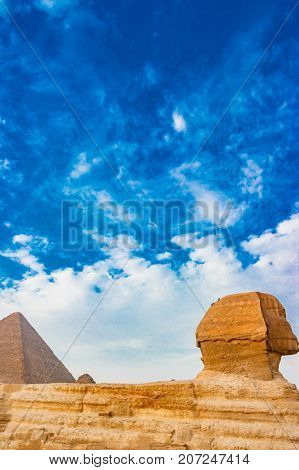 The sphinx guarding the phyramids in Giza. Cairo, Egypt