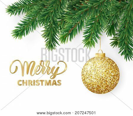 Christmas card with fir tree branches, hanging christmas ball and Merry Christmas text. Realistic fir-tree border, frame isolated on white. Great for christmas flyers, party posters.