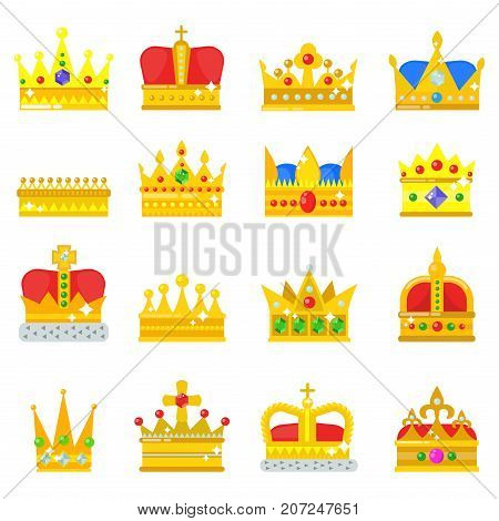 Gold crown of the king icon set nobility majestic collection insignia and imperial prince vintage jewelry kingdom queen royal classic sign vector illustration. Royalty ornate authority award symbol.