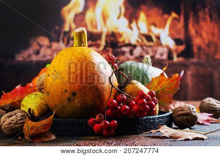 Autumn composition with pumpkins, pears and ashberry. Halloween or Thanksgiving day background