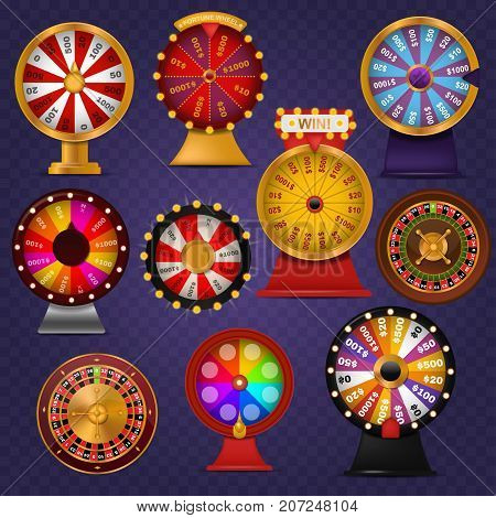 Spinning fortune wheel lucky roulette casino gamble lottery play winner chance spin slot machine vector illustration. Gambling entertainment pointer lottery wheel of fortune.