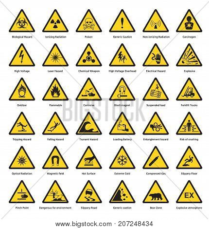 Set of triangle yellow warning sign hazard dander attention symbols chemical flammable security radiation caution icon vector illustration