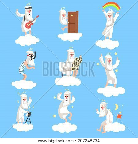 God character in action on cloud. Creator s daily routine. Heaven working days. Playing guitar and synthesizer, reading, dancing, jumping, swimming. Vector illustration for book, card, poster or badge