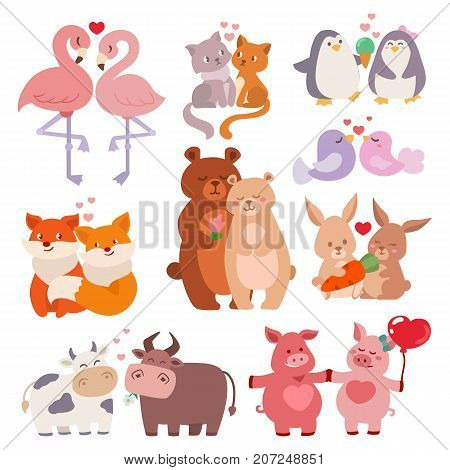 Cute animals couples in love collection happy valentines day loving cartoon characters together nature wildlife vector illustration. Wild animals set