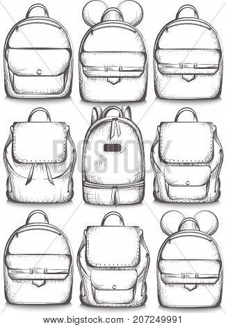 Schoolbags set collection Vector line art. Graphic style satchel