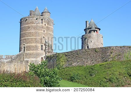 Tower and walls of Fougeres Castle, France