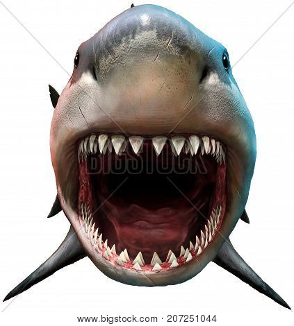 Shark with open mouth preparing to bite 3D illustration