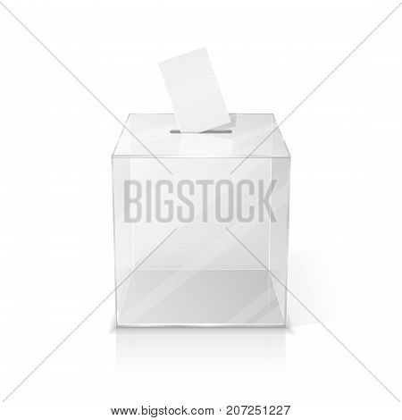Realistic empty transparent ballot box with blank voting paper. Isolated illustration on white background 3d illustration