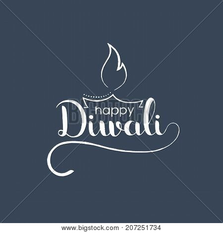 Happy Diwali handwritten lettering. Modern vector hand drawn calligraphy with Indian diya oil lamp over grey background for your poster postcard invitation or greeting card design