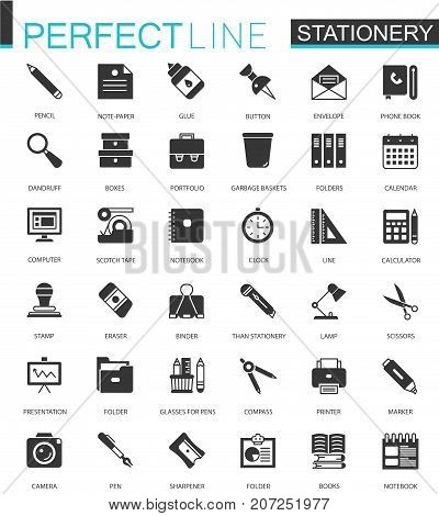 Black classic office stationery icons set for web isolated