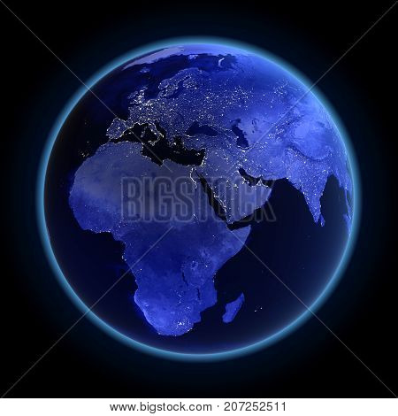 Africa, europe and asia. Maps from NASA imagery 3d rendering