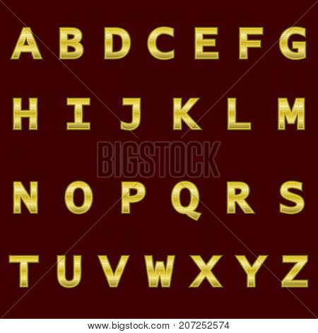 A complete set of gold 3D letters with a grid relief. The edges of the letters are not rounded. Font is isolated by a dark red background. Vector illustration.