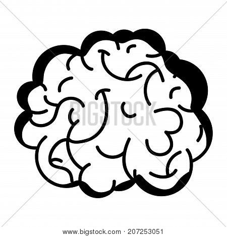 contour human brain anatomy to creative and intellect vector illustration