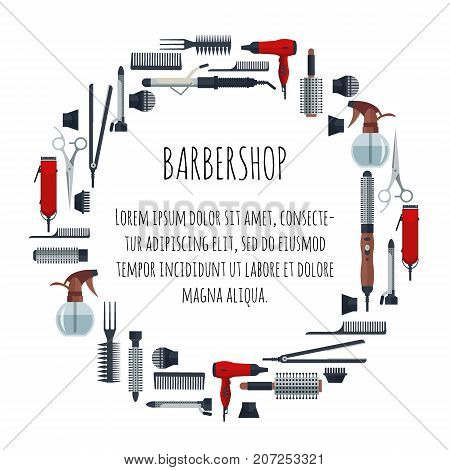 Set of hairdresser objects in flat style isolated on white background. Hair salon equipment and tools logo icons, hairdryer, comb, scissors, hairclipper, curling, hair straightener.