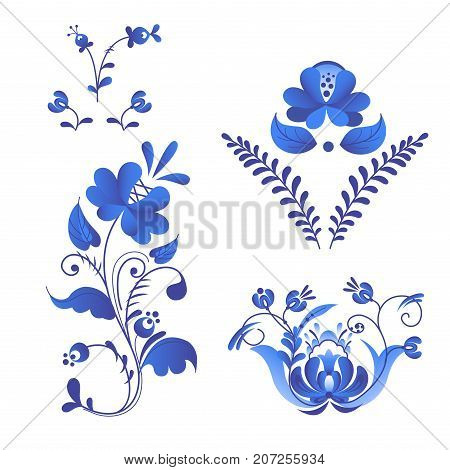 Russian ornaments art frames in gzhel style painted with blue on white flower traditional folk bloom branch pattern vector illustration.