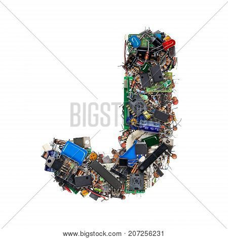 Letter J Made Of Electronic Components