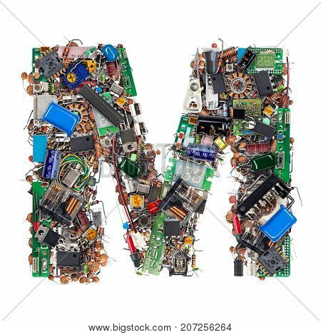 Letter M Made Of Electronic Components