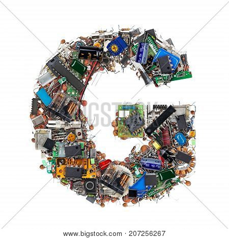 Letter G Made Of Electronic Components