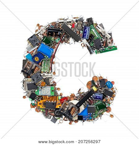 Letter C Made Of Electronic Components