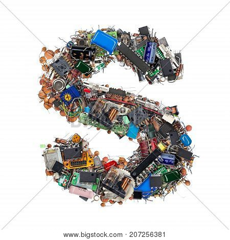 Letter S Made Of Electronic Components