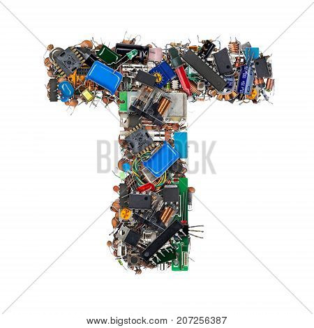 Letter T Made Of Electronic Components