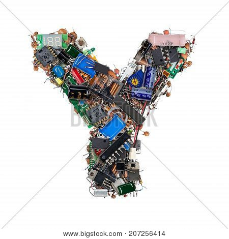 Letter Y Made Of Electronic Components